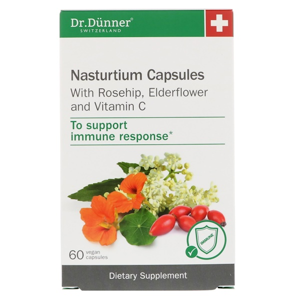 Dr. Dunner, USA, Nasturtium Capsules, With Rosehip, Elderflower and Vitamin C, 60 Vegan Capsules (Discontinued Item)