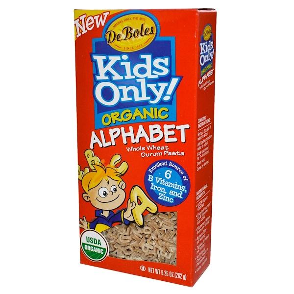DeBoles, Kids Only! Organic Alphabet Whole Wheat Durum Pasta, 9.25 oz (262 g) (Discontinued Item)