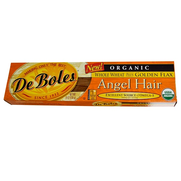 DeBoles, Organic, Angel Hair, Whole Wheat Plus Golden Flax, 8 oz (226 g) (Discontinued Item)