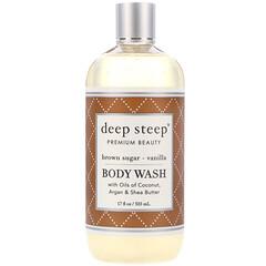 Deep Steep, 沐浴露,紅糖-香草,17 液體盎司(503 毫升)