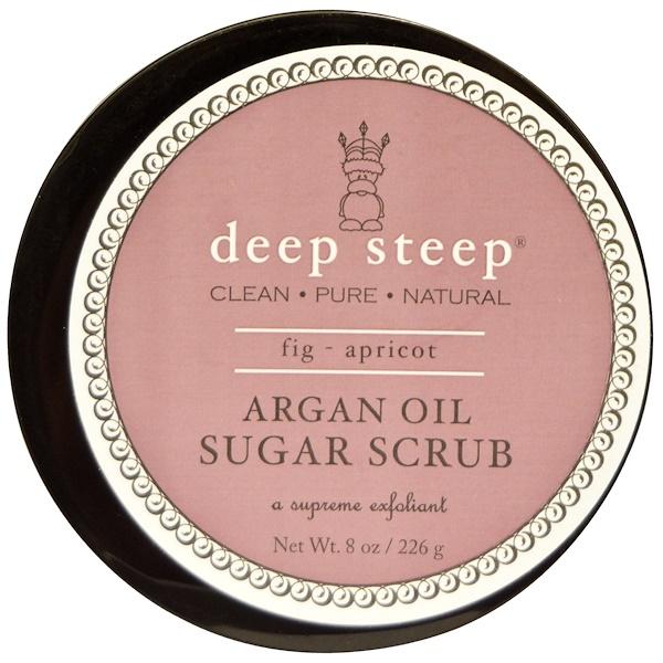 Deep Steep, Argan Oil Sugar Scrub, Fig - Apricot, 8 oz (226 g) (Discontinued Item)