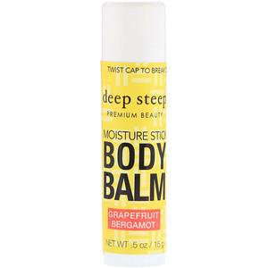 Дип Стип, Deep Steep, Moisture Stick Body Balm, Grapefruit Bergamot, .5 oz (15 g) отзывы покупателей