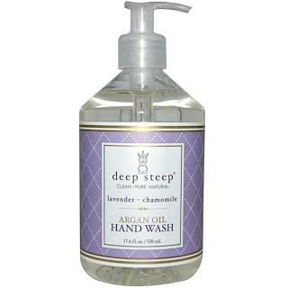 Deep Steep, アルガンオイル ハンドウォッシュ、ラベンダー- カモミール、17.6 fl oz (520 ml)
