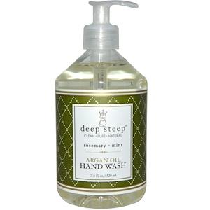 Deep Steep, Средство для мытья рук с аргановым маслом, розмарин и мята, 17.6 жидких унций (520 мл)