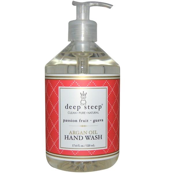 Deep Steep, アルガンオイル ハンドウォッシュ、パッションフルーツ- グアバ、17.6 fl oz (520 ml) (Discontinued Item)