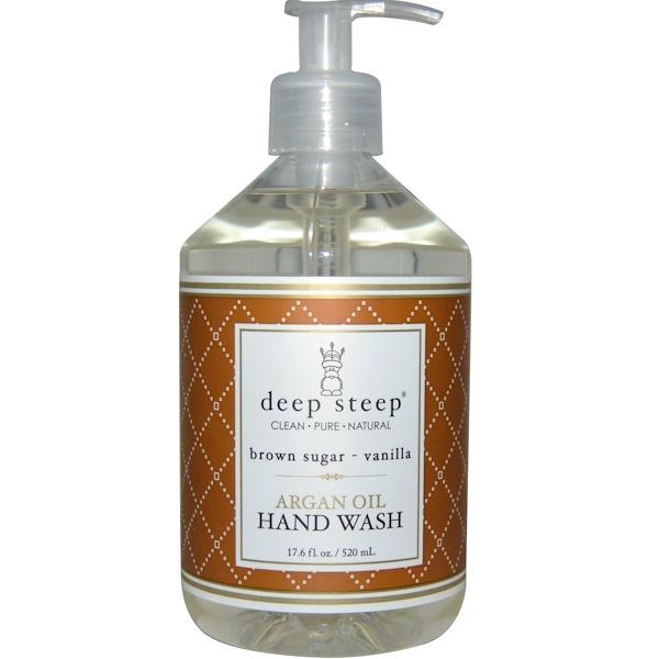 Deep Steep, Argan Oil Hand Wash, Brown Sugar - Vanilla, 17、6 fl oz (520 ml)