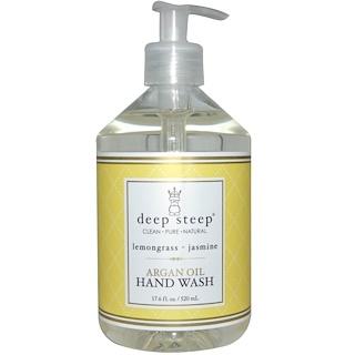 Deep Steep, アルガンオイル ハンドウォッシュ、 レモングラス・ジャスミン、 17.6液量オンス (520 ml)