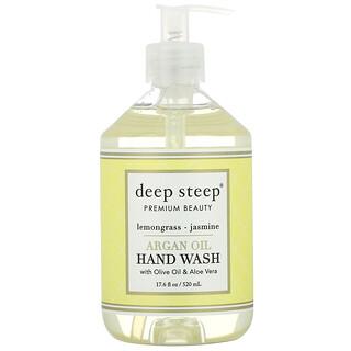 Deep Steep, غسول اليدين بزيت الأرجان، عشب الليمون والياسمين، 17.6 أونصة سائلة (520 مل)