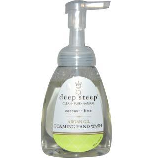 Deep Steep, アルガンオイル フォーミング ハンドウォッシュ、ココナツ - ライム、8 fl oz (237 ml)