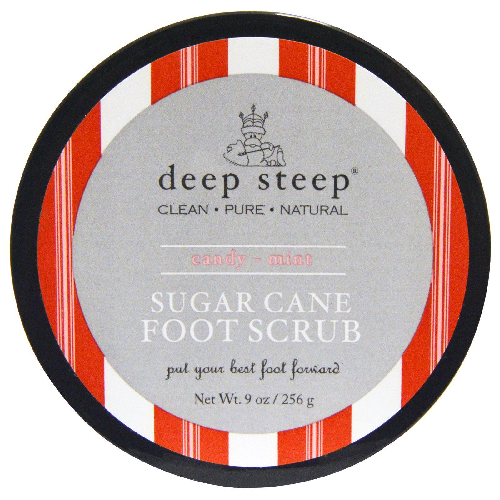 Deep Steep, Скраб для ног с тростниковым сахаром, мятная карамель, 9 унций (256 г)