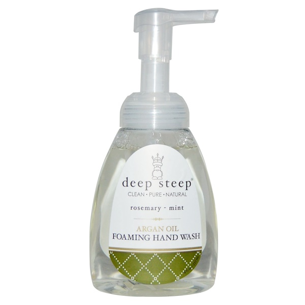 Deep Steep, アルガンオイル フォーミング ハンドウォッシュ、ローズマリー - ミント、8 fl oz (237 ml) (Discontinued Item)