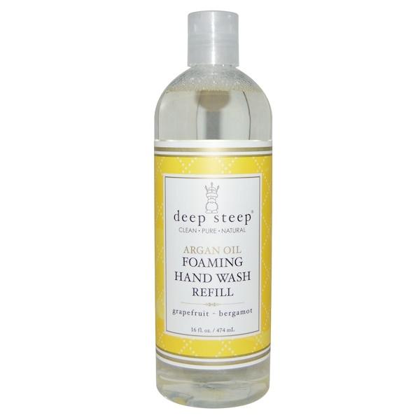 Deep Steep, Argan Oil Foaming Hand Wash Refill, Grapefruit - Bergamot, 16 fl oz (474 ml) (Discontinued Item)