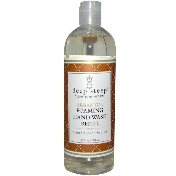 Deep Steep, Argan Oil Foaming Hand Wash Refill, Brown Sugar - Vanilla, 16 fl oz (474 ml) (Discontinued Item)