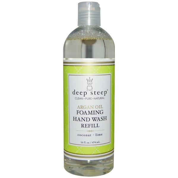 Deep Steep, Argan Oil Foaming Hand Wash Refill, Coconut - Lime, 16 fl oz (474 ml) (Discontinued Item)