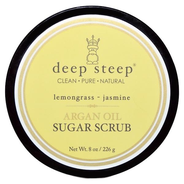 Deep Steep, Argan Oil Sugar Scrub, Lemongrass - Jasmine, 8 oz (226 g) (Discontinued Item)