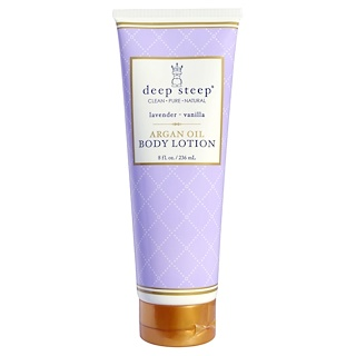 Deep Steep, Argan Oil Body Lotion, Lavender-Vanilla, 8 fl oz (236 ml)