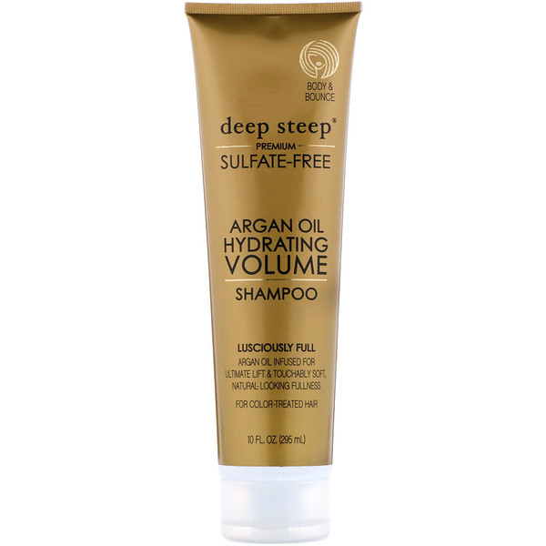 Deep Steep, Argan Oil, Hydrating Volume Shampoo, Lusciously Full, 10 fl oz. (295 ml)