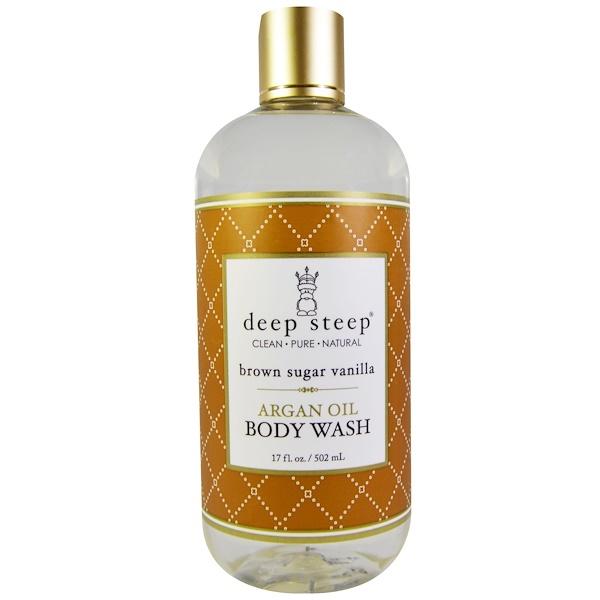 Deep Steep, Argan Oil Body Wash, Brown Sugar Vanilla, 17 fl oz (502 ml) (Discontinued Item)