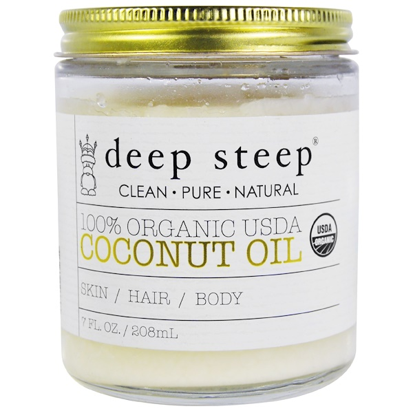 Deep Steep, 100% Organic USDA, Coconut Oil, 7 fl oz (208 ml)