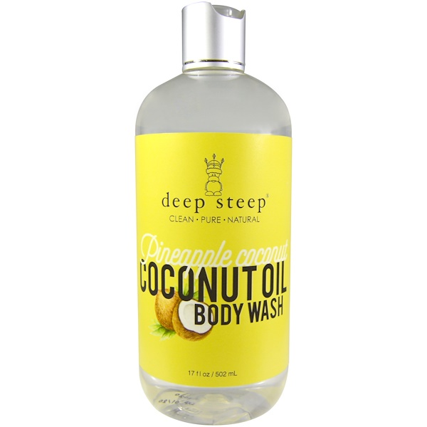 Deep Steep, Coconut Oil Body Wash, Pineapple Coconut, 17 fl oz (502 ml) (Discontinued Item)