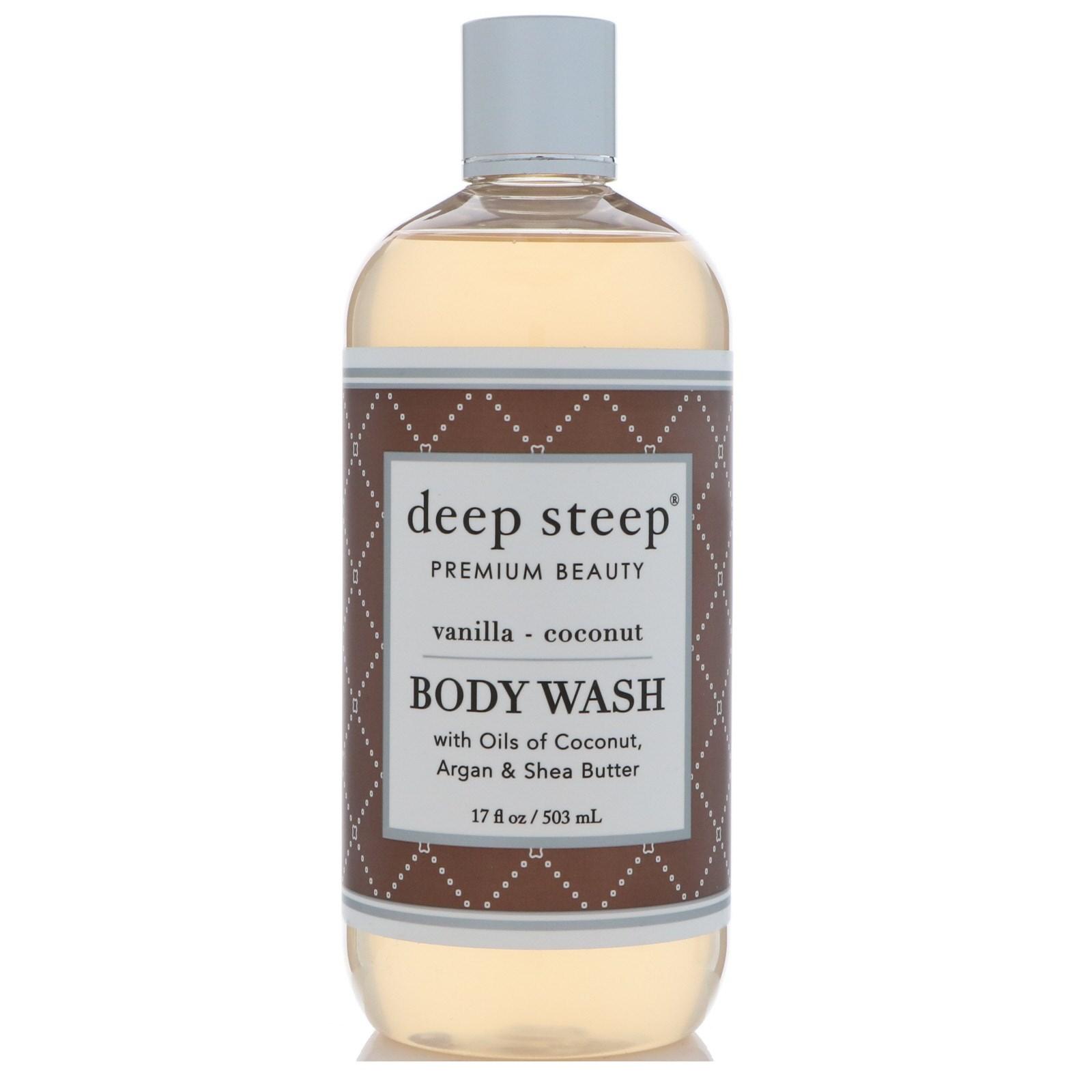 Deep Steep, Body Wash, Vanilla - Coconut, 17 fl oz (503 ml)