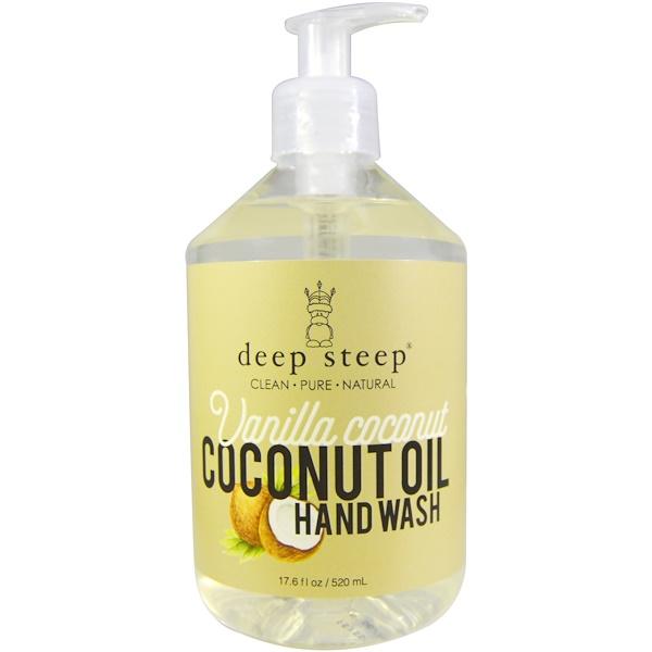 Deep Steep, Мыло для рук с экстрактом кокосового масла, ваниль-кокос, 17,6 жидких унций (520 мл)