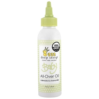 Deep Steep, Organic Baby All-Over Oil, Calendula & Chamomile, 4 fl oz (118 ml)