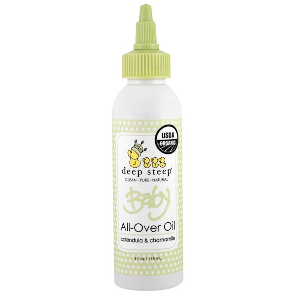 Deep Steep, Organic Baby All-Over Oil, Calendula & Chamomile, 4 fl oz (118 ml) (Discontinued Item)