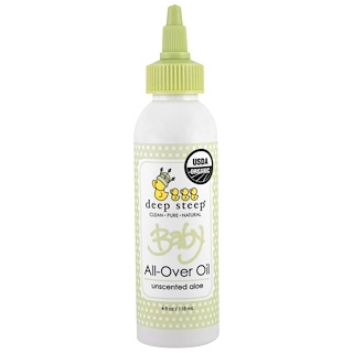 Deep Steep, Organic Baby All-Over Oil, Unscented Aloe, 4 fl oz (118 ml)