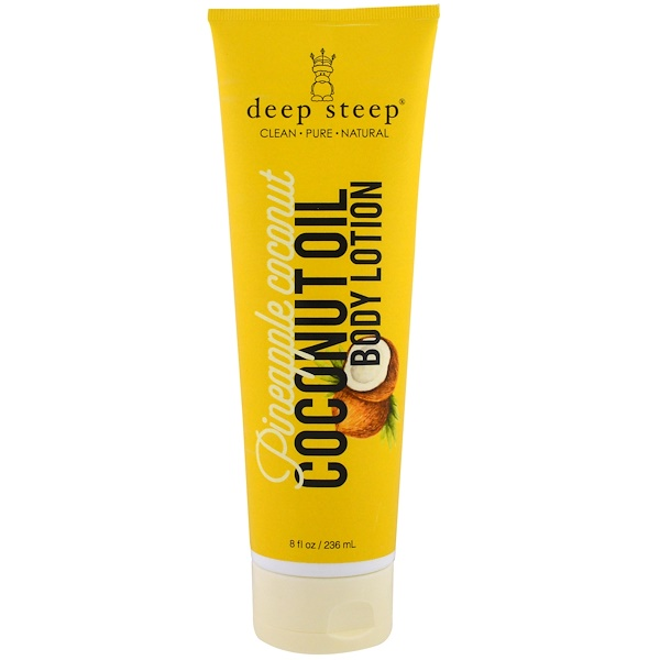 Deep Steep, Coconut Oil Body Lotion, Pineapple Coconut, 8 fl oz (236 ml) (Discontinued Item)