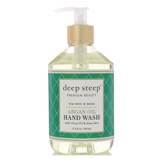 Deep Steep, Argan Oil Hand Wash, Tea Tree & Mint, 17.6 fl oz (520 ml)