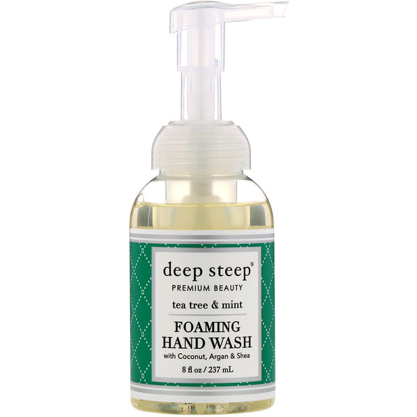 Deep Steep, Foaming Hand Wash, Tea Tree & Mint, 8 fl oz (237 ml)