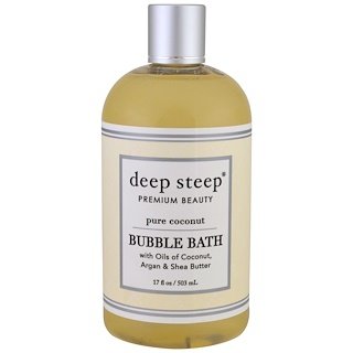 Deep Steep, Пена для ванн, чистый кокос, 17 унций (503 мл)