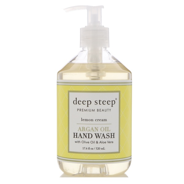 Deep Steep, Argan Oil Hand Wash, Lemon Cream, 17.6 fl oz (520 ml) (Discontinued Item)