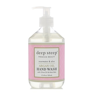 Deep Steep, Argan Oil Hand Wash, Rosewater & Aloe, 17.6 fl oz (520 ml)
