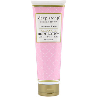 Deep Steep, Argan Oil Body Lotion, Rosewater & Aloe, 8 fl oz (237 ml)