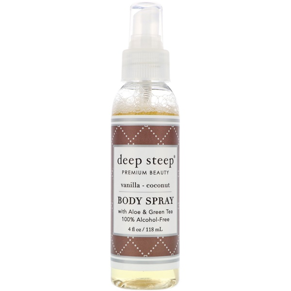 Deep Steep, Body Spray, Vanilla - Coconut, 4 fl oz (118 ml)