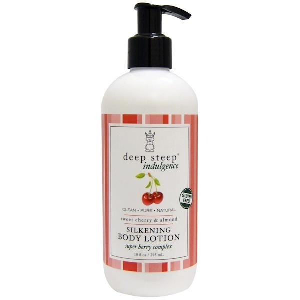 Deep Steep, Indulgence, Silkening Body Lotion, Sweet Cherry & Almond, 10 fl oz (295 ml) (Discontinued Item)