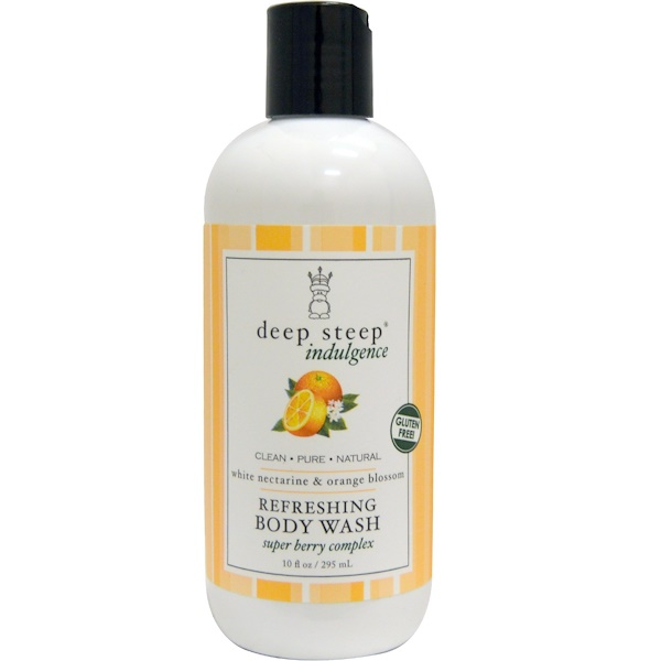 Deep Steep, Indulgence, Refreshing Body Wash, White Nectarine & Orange Blossom, 10 fl oz (295 ml) (Discontinued Item)