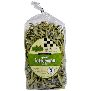 Al Dente Pasta, Spinach Fettuccine Noodles, 12 oz (341 g)