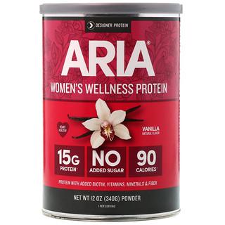 Designer Protein, آريا، بروتين صحي للنساء، فانيليا، 12 أوقية (340 جم)