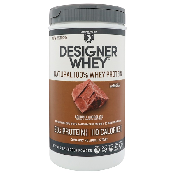 Designer Protein, Designer Whey, Natural 100% Whey Protein, Gourmet Chocolate, 2 lbs (908 g) (Discontinued Item)
