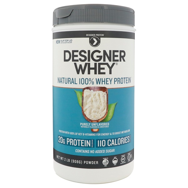 Designer Protein, Designer Whey, Natural 100% Whey Protein, Purely Unflavored, 2 lbs (908 g) (Discontinued Item)