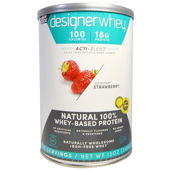 Designer Protein, Designer Whey, with Acti-Blend, Natural 100% Whey Based Protein, Summer Strawberry, 12 oz (340 g) (Discontinued Item)