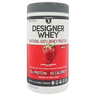 Designer Protein, Designer Whey, Natural 100% Whey Protein, Summer Strawberry, 2 lbs (908 g)