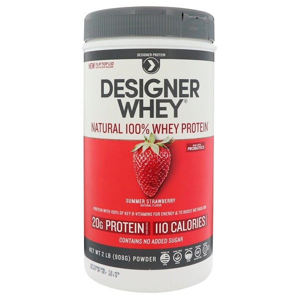 Designer Protein, Designer Whey, Natural 100% Whey Protein, Summer Strawberry, 2 lbs (908 g) (Discontinued Item)