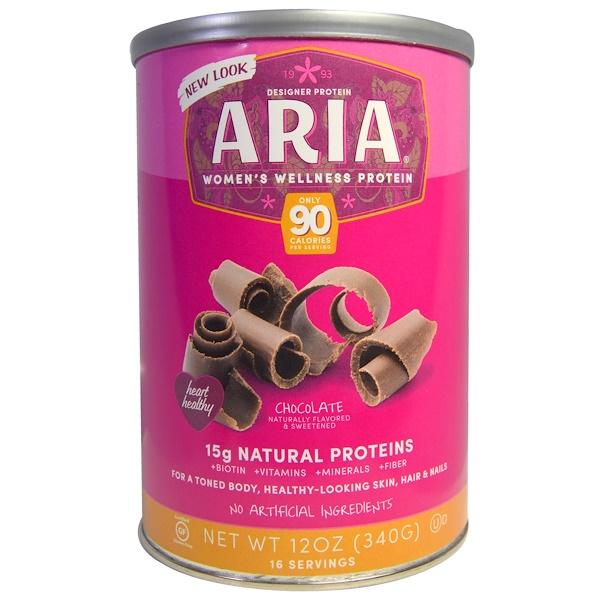 Designer Protein, Aria, Women's Wellness Protein, Chocolate, 12 oz (340 g) (Discontinued Item)