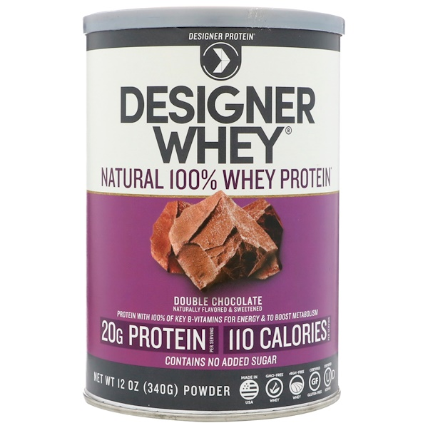 Designer Protein, Designer Whey, Natural 100% Whey Protein, Double Chocolate, 12 oz (340 g) (Discontinued Item)