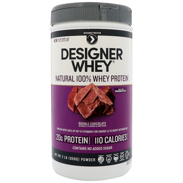 Designer Protein, Designer Whey, Natural 100% Whey Protein, Double Chocolate, 2 lbs (908 g) (Discontinued Item)