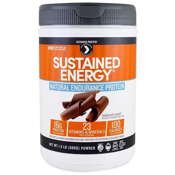 Designer Protein, Designer Whey, Premium Protein Powder, Endurance Blend, Chocolate Velvet, 1.5 lbs (680 g) (Discontinued Item)